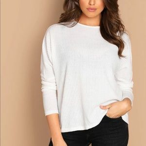 Ribbed knit long sleeve tee top white